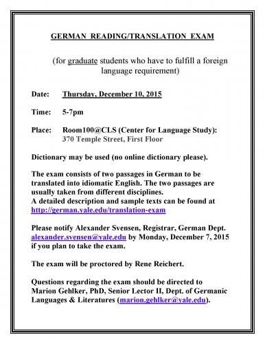 German translation exam dec 10 signup by dec 7 for Farcical german translation