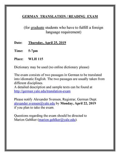 Translation Exam, Thursday April 25 at 5pm in WLH 115