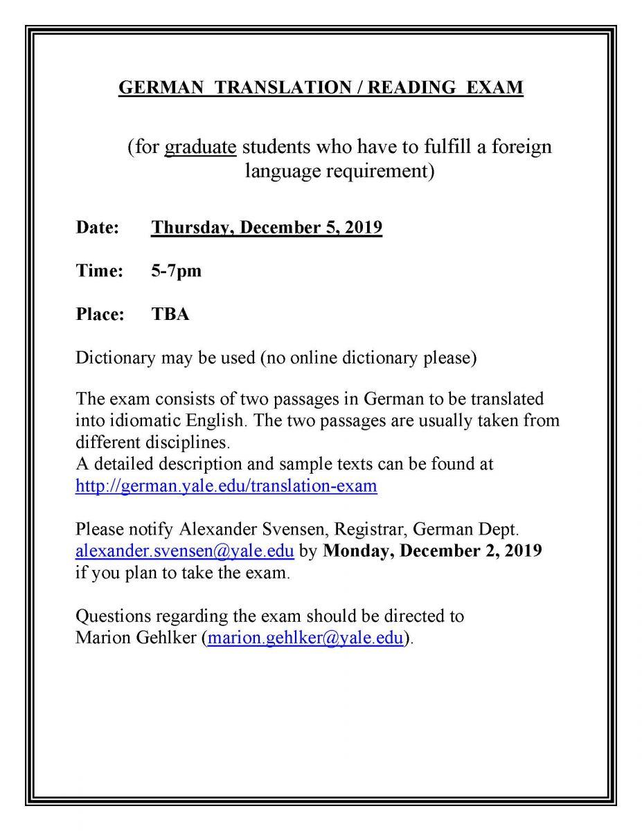 German Reading / Translation Exam   Department of Germanic