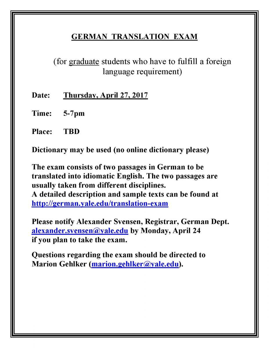 German Reading / Translation Exam | Department of Germanic ...
